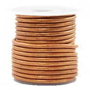 DQ leather round 3 mm Copper Gold Metallic