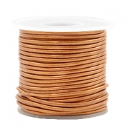 DQ leather round 1 mm Copper Gold Metallic