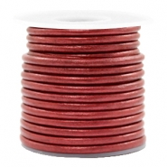 DQ leather round 3 mm Moroccan Red Metallic