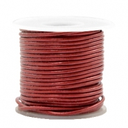 DQ leather round 1 mm Moroccan Red Metallic