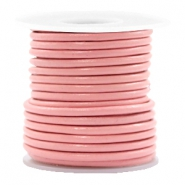 DQ leather round 3 mm Blossom Pink Metallic