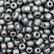 Glass seed beads 6/0 (4mm) Dark Silver Grey
