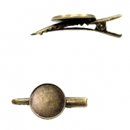 Settings hair clip metal for cabochon 20mm Bronze