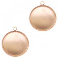 Settings charm metal for cabochon 20 mm Rose Gold