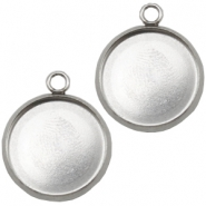 Stainless steel charms setting for 20mm cabochon Silver