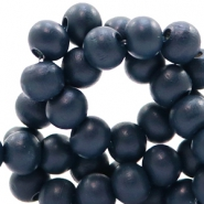 Wooden beads round 6 mm Midnight Dream Blue