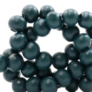 Wooden beads round 6 mm Dark Petrol Blue