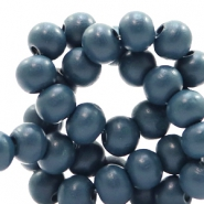 Wooden beads round 6 mm Aegean Blue