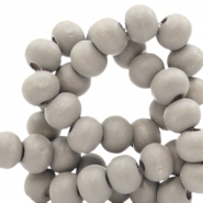 Wooden beads round 6 mm Warm Light Grey