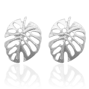 Trendy earrings studs leaf Silver