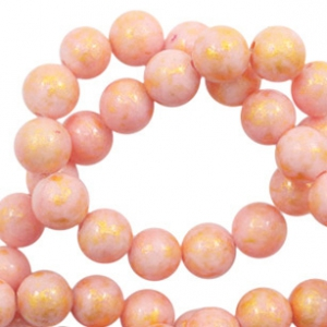 8 mm natural stone beads round jade Gold-Rouge Pink