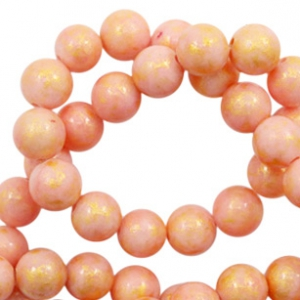 4 mm natural stone beads round jade Gold-Salmon Rose Pink