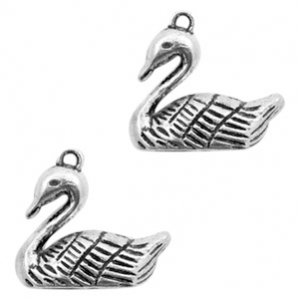 Metal charms swan Antique Silver