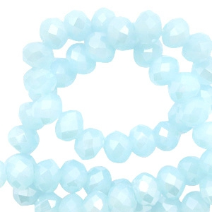 Top faceted beads 6x4mm disc Seascape Blue-High Shine Coating
