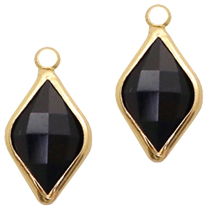 Crystal glass charms rhombus 10x14mm Jet Black-Gold