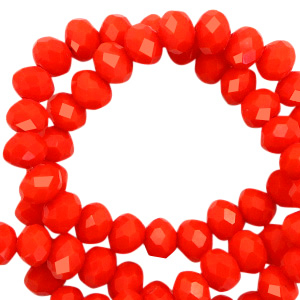 Top faceted beads 6x4mm disc Living Coral Red-Pearl Shine Coating