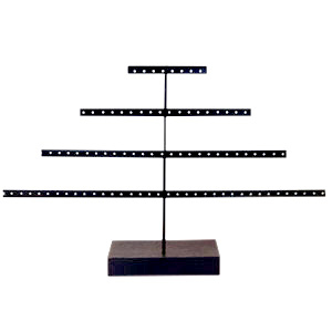 Jewellery display pyramide with wooden standard Black-Dark Brown