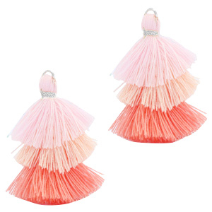 Tassels 3-layer 3.2cm Silver-Multicolour Rose Pink