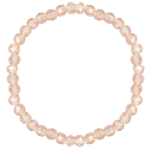 Top faceted bracelets 6x4mm Champagne Beige-Pearl Shine Coating