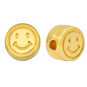 DQ European metal beads smiley 7mm Gold (nickel free)