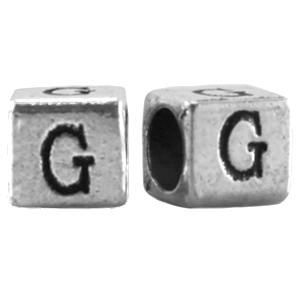 Modi beads letter G Antique silver