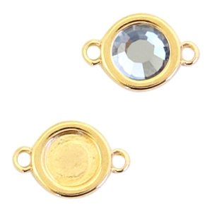 Round DQ metal settings 2 loops for SS30 flatback stone Gold (nickel free)