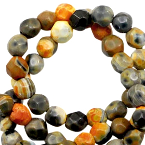 3 mm natural stone faceted beads disc Light Earth Brown Orange