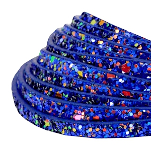 5 mm flat faux leather with glitters Cobalt Blue