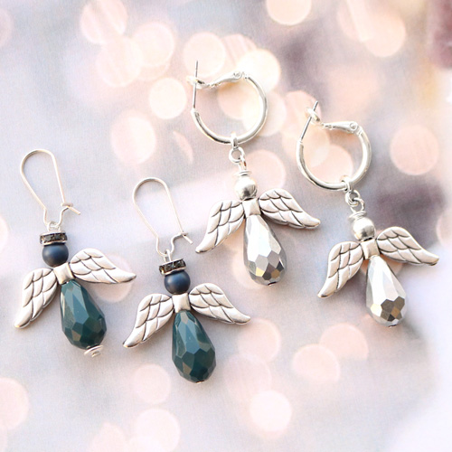 Angels with top faceted drop shaped beads and metal wings