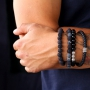 Robust men's jewellery with beads and DQ leather