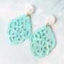 Modern statement earrings with resin pendants