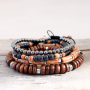 See here how you can make these cool bracelets with wooden beads yourself: