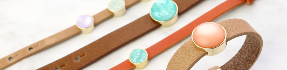 Cuoio bracelets leather 8mm for 12 mm cabochon