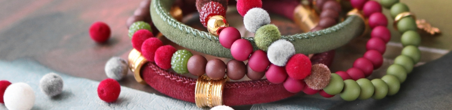 NEW! Stichted velvet cord and velvet pompom beads!