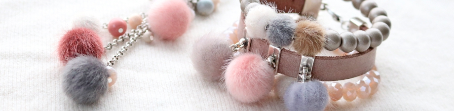 New: cute faux fur pompom beads and charms