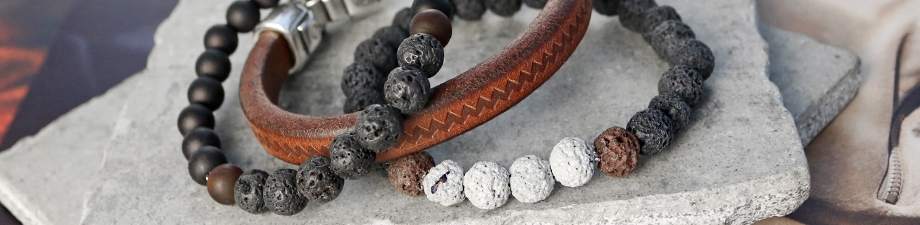 New lava beads: perfect for men's jewellery