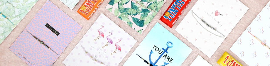 Must-haves! New jewellery cards, bracelets and chocolate!