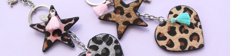 Pendants faux leather hairy heart and star shaped!