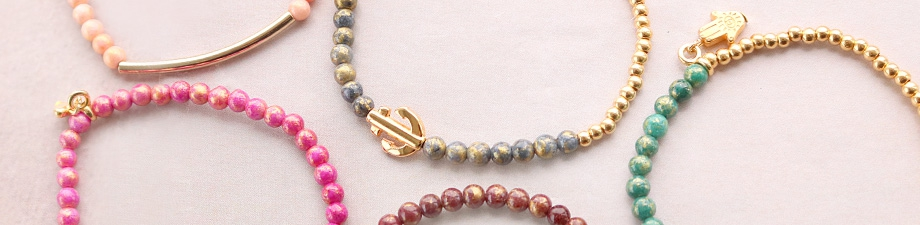 NEW: natural stone jade beads with golden details
