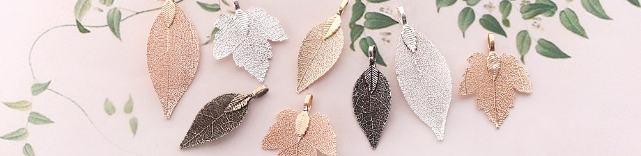 Leaf charms with metal coating