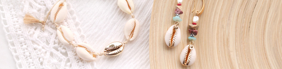N E W: coloured, gold & silver cowrie beads